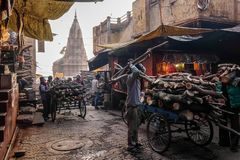 Manikarnika Ghat is one of the ghats in Varanasi India and is most known for being a place of Hindu cremation. Varanasi, India - December, 9th, 2017 Royalty Free Stock Photography
