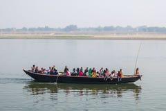 Varanasi, India. People boating on Ganga river in Varanasi, India. Royalty Free Stock Images