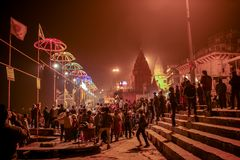 VARANASI, INDIA -  Ganges river and Varanasi ghats Royalty Free Stock Photography