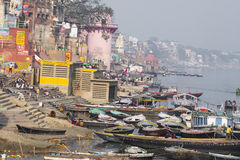 VARANASI, INDIA - JANUARY 26, 2012: Ghats on the banks of Ganges. River in holy city of Varanasi Stock Photography