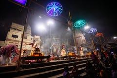 VARANASI, INDIA- 23 JANUARY 2017 : A Hindu priest performs the G Stock Images