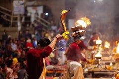 VARANASI, INDIA- 23 JANUARY 2017 : A Hindu priest performs the G Stock Photography