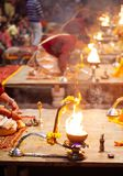 VARANASI, INDIA- 23 JANUARY 2017 : A Hindu priest performs the G Stock Image