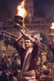 VARANASI, INDIA- 23 JANUARY 2017 : A Hindu priest performs the G Royalty Free Stock Image