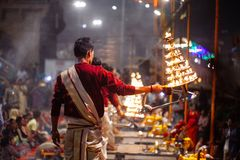 VARANASI, INDIA- 23 JANUARY 2017 : A Hindu priest performs the G Royalty Free Stock Photography