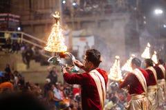 VARANASI, INDIA- 23 JANUARY 2017 : A Hindu priest performs the G Stock Photo