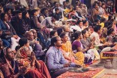 VARANASI, INDIA- 23 JANUARY 2017 : A Hindu priest performs the G Royalty Free Stock Photo