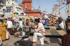VARANASI, INDIA - JANUARY 25, 2017: Morning view of holy ghats o. F river Ganges in Varanasi, India Stock Images
