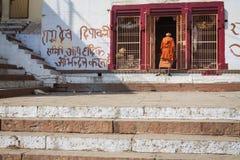 VARANASI, INDIA - JANUARY 25, 2017: Morning view of holy ghats o. F river Ganges in Varanasi, India Royalty Free Stock Images