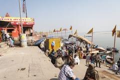 VARANASI, INDIA - JANUARY 25, 2017: Morning view of holy ghats o. F river Ganges in Varanasi, India Royalty Free Stock Photography