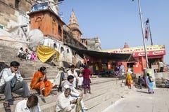VARANASI, INDIA - JANUARY 25, 2017: Morning view of holy ghats o. F river Ganges in Varanasi, India Stock Photo
