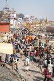 VARANASI, INDIA - JANUARY 25, 2017: Morning view of holy ghats o. F river Ganges in Varanasi, India Stock Photography