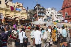 VARANASI, INDIA - JANUARY 25, 2017: Morning view of holy ghats o. F river Ganges in Varanasi, India Royalty Free Stock Image