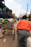 Riding Passenger POV Cycle Rickshaw Street India Stock Images