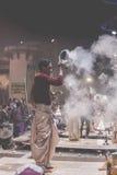 VARANASI, INDIA - JANUARY 26: An unidentified Hindu priest condu Stock Photos