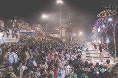 VARANASI, INDIA - JANUARY 26: An unidentified Hindu priest condu Royalty Free Stock Photo