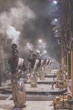 VARANASI, INDIA - JANUARY 26: An unidentified Hindu priest condu Stock Images