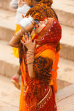 Indian Hindu Woman Drinking Ganges River Water Royalty Free Stock Photos