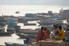 Priest Blessing Family Deceased Ganges Varanasi Royalty Free Stock Images