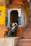 Street Barber Shave Varanasi Underground Economy Royalty Free Stock Photo