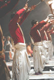 VARANASI, INDIA - JANUARY 25, 2017: Waving Kapoor lamps. Crowds Stock Photos