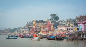 Landscape of the Ganges Riverbank. Varanasi, India - Jul 12, 2015. Landscape of the Ganges River in Varanasi, India. Varanasi, once known as Benares or Banaras Stock Photography