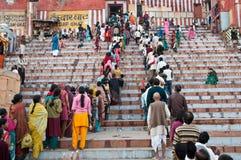 Het gebedrij van Shivaratri in Varanasi Stock Fotografie