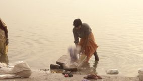 Varanasi, india, man washing clothes in sacred ganges river. The Ganga has an extraordinary religious importance for Hindus stock footage