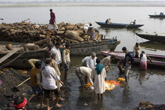 Varanasi. India - Varanasi - Manikarnika ghat - cremation of cadaver stock photography