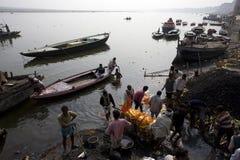 Varanasi. India - Varanasi - Manikarnika ghat - cremation of cadaver stock images