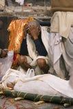 Varanasi. India - Varanasi - Manikarnika ghat - cremation of cadaver stock photo