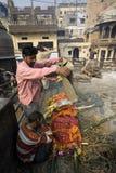 Varanasi. India - Varanasi - Manikarnika ghat - cremation of cadaver royalty free stock photos
