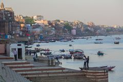 Banks on the holy Ganges river. VARANASI, INDIA - MAR 18, 2018: Banks on the holy Ganges river. According to legends, the city was founded by God Shiva about royalty free stock photos