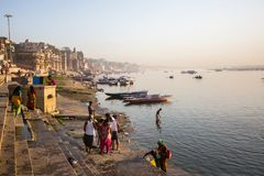 Banks on the holy Ganges river in the early morning. Stock Photography