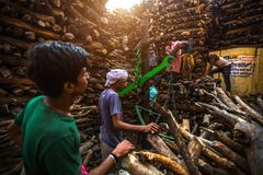 Locals near Holy Ganges weighed for sale wood for cremation. VARANASI, INDIA - MAR 22, 2018: Locals near Holy Ganges weighed for sale wood for cremation royalty free stock images