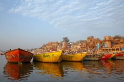 VARANASI, INDIA - MARCH 20, 2018: color boats on Ganga river Stock Image