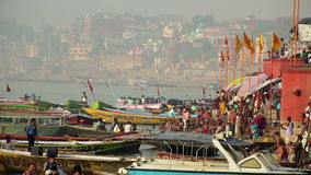 VARANASI, INDIA - MAY 2013: Everyday scene by Ganges River stock video footage