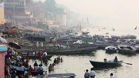 VARANASI, INDIA - MAY 2013: Everyday scene by Ganges River stock video