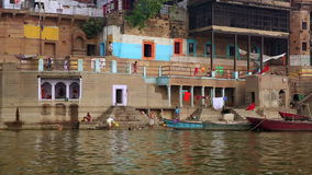 VARANASI, INDIA - MAY 2013: Everyday scene by Ganges River stock footage