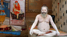 VARANASI, INDIA - MAY 2013: Naked Sadhu posing Stock Photo