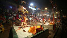 VARANASI, INDIA - MAY 2013: Night praying ceremony, ganges river Stock Photos