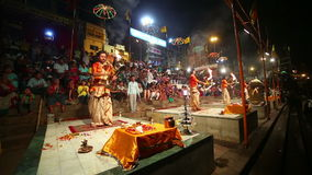 VARANASI, INDIA - MAY 2013: Night praying ceremony, ganges river Stock Images