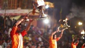 VARANASI, INDIA - MAY 2013: Night praying ceremony, ganges river stock video footage
