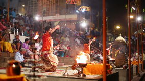 VARANASI, INDIA - MAY 2013: Night praying ceremony, ganges river Stock Photo