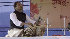Varanasi, india, musician playing tabla. The Tabla is a popular Indian percussion instrument stock video footage