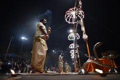 Varanasi, India, November 25, 2017: Ganga aarti ceremony. Performed by priests on the river bank of Gange Varanasi India royalty free stock photos