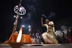 Varanasi, India, November 25, 2017: Ganga aarti ceremony. Performed by priests on the river bank of Gange Varanasi India royalty free stock photography