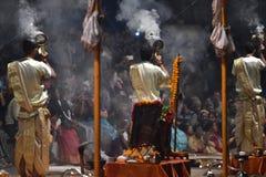 Varanasi, India, November 25, 2017: Ganga aarti ceremony. Performed by priests on the river bank of Gange Varanasi India royalty free stock photo