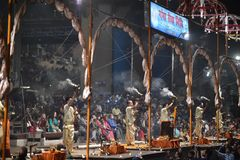 Varanasi, India, November 25, 2017: Ganga aarti ceremony. Performed by priests on the river bank of Gange Varanasi India stock photography