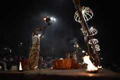 Varanasi, India, November 25, 2017: Ganga aarti ceremony. Performed by priests on the river bank of Gange Varanasi India royalty free stock images